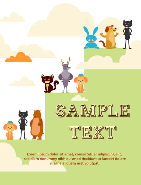 Vector background illustration with tree, animals and clouds Vector Illustrations urban