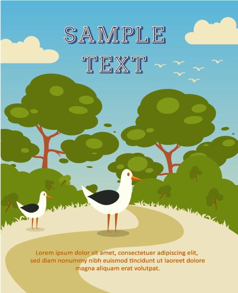Astounding Illustration Vector Illustration: Vector Illustration Background Illustration With Tree, Bird, Cloud, 1