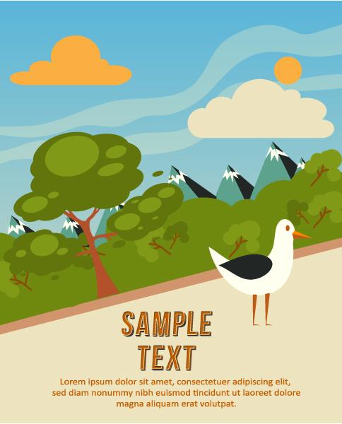 Vector background illustration with tree, bird, cloud, Vector Illustrations tree