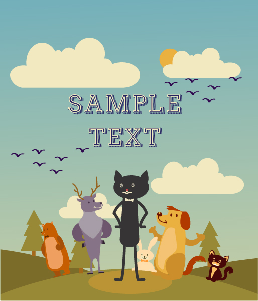 Illustration, Vector, Cat Clouds, Bear, Vector Vector Background Illustration  Cat, Dog, Bear, Deer, Trees  Clouds 1