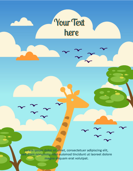 Vector background illustration with giraffe,tree, cloud 2015 03 03 816