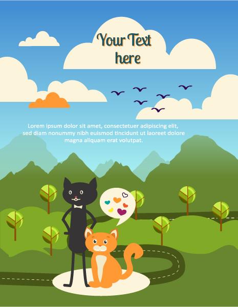 Brilliant Tree, Vector Illustration: Vector Illustration Background Illustration With Cat, Tree, Cloud, Mountain 1