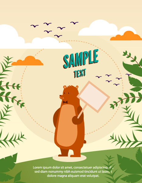 Vector background illustration with bear,leaves, wood , sign, and clouds Vector Illustrations urban