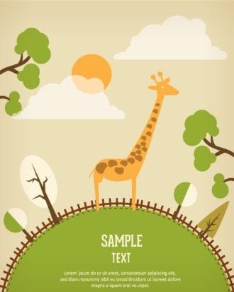 Vector background illustration with giraffe Vector Illustrations urban