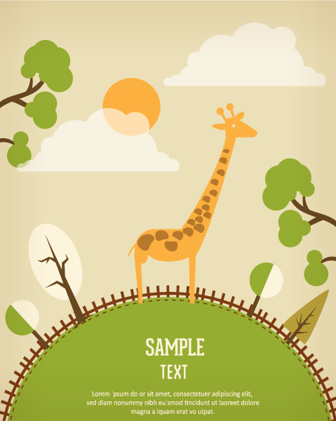 Vector background illustration with giraffe 2015 03 03 823