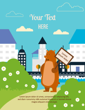 Vector background illustration with bear, wood sign, city, flowers and clouds Vector Illustrations city