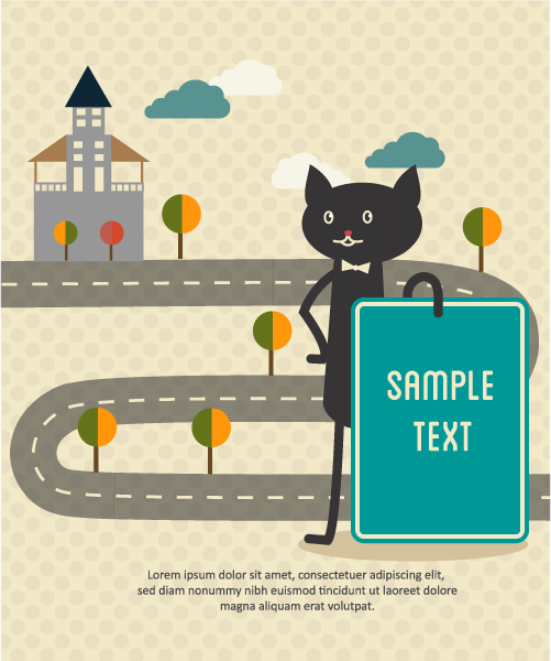 Trendy Trees, Vector Design: Vector Design Background Illustration With Cat, Trees, Clouds And Building 1