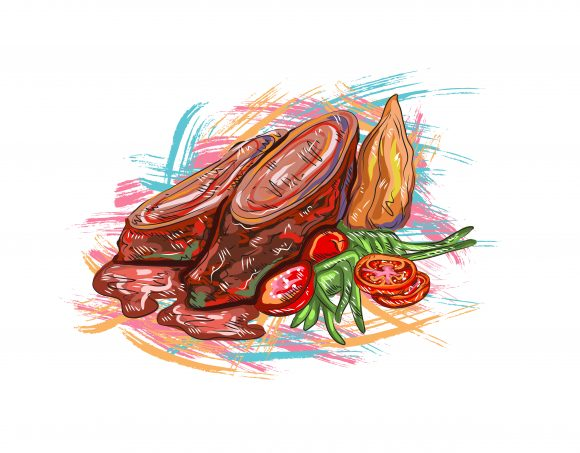 Unique Eating Vector Background: Cooked Food Vector Background  Illustration 1