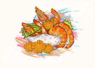 cooked shrimp vector illustration Vector Illustrations vector