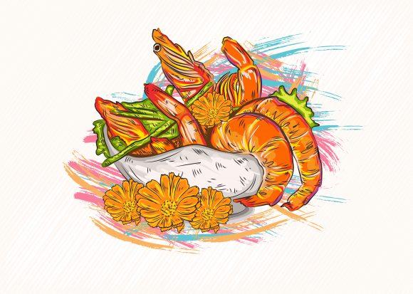 Illustration Vector Image: Cooked Shrimp Vector Image Illustration 1
