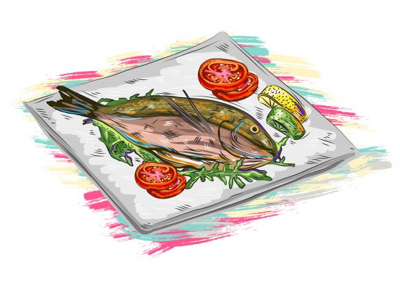 Healthy Vector Artwork: Cooked Fish Vector Artwork  Illustration 1