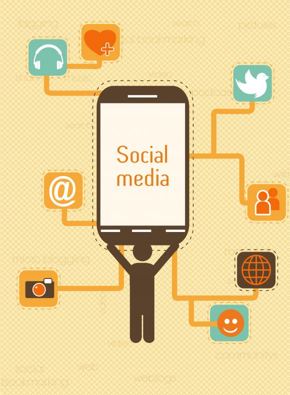 vector smartphone with social icons Vector Illustrations vector