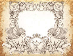 vector victorian frame with angels Vector Illustrations old