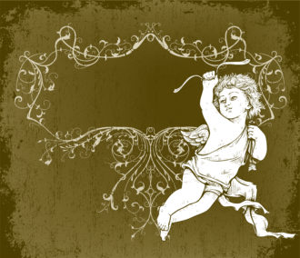 vector angel with frame Vector Illustrations old