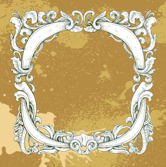 vector grunge frame with floral Vector Illustrations old