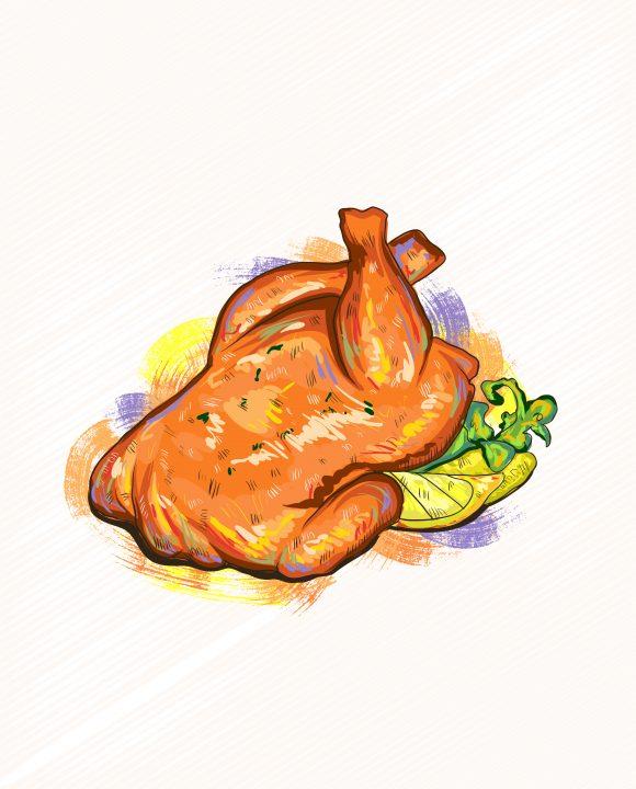 Chicken Vector Illustration Vector Roast Chicken Illustration 5
