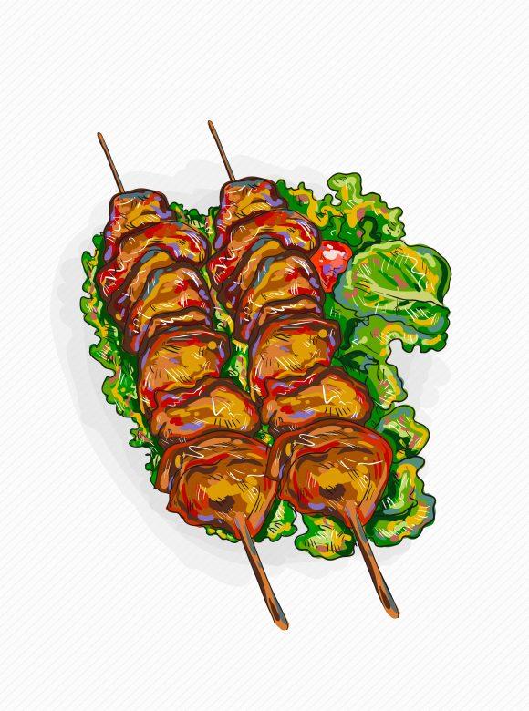 Buy Illustration Vector Design: Vector Design Chicken Shish Kebab Illustration 1