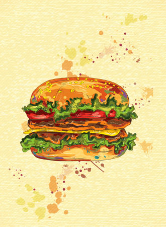 vector vintage background with hamburger Vector Illustrations old