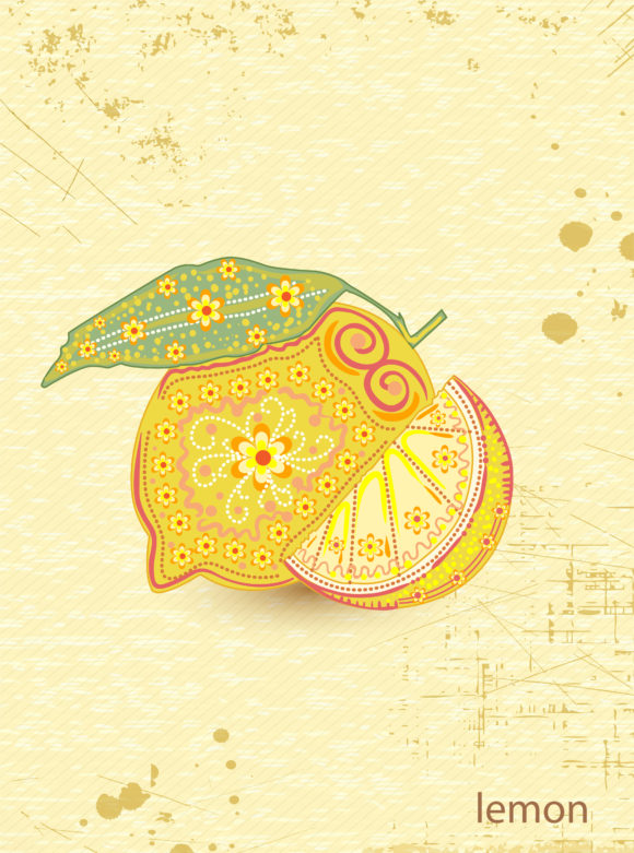 vector vintage background with lemon Vector Illustrations lemon