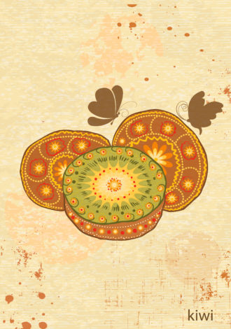 vector vintage background with kiwi Vector Illustrations old