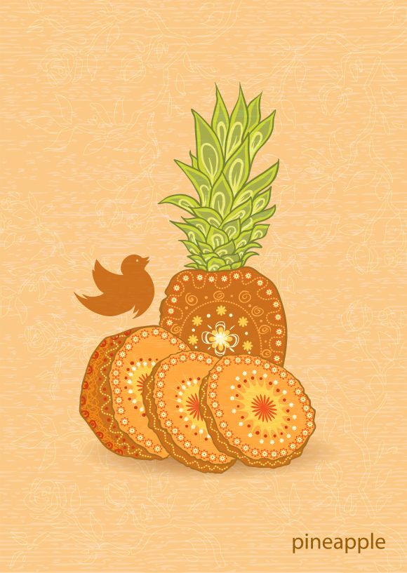 vector vintage background with pineapple Vector Illustrations old
