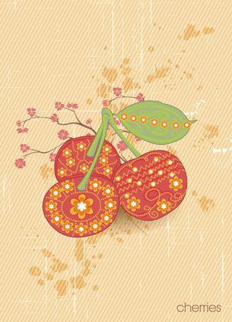 vector vintage background with cherries Vector Illustrations old