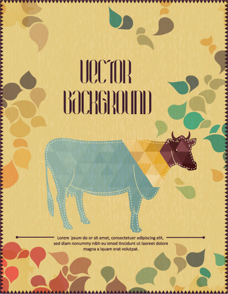 Vector background illustration with cow 2015 04 04 010
