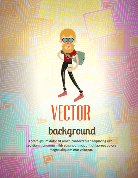 Vector background illustration with hipster man 2015 04 04 031