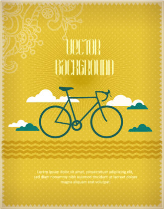 Vector background illustration with hipster bike, clouds,and floral ornaments Vector Illustrations urban