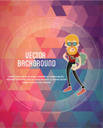 Vector background illustration with hipster man Vector Illustrations urban