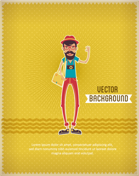 Vector background illustration with hipster man 2015 04 04 048