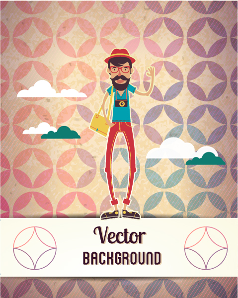 Vector background illustration with hipster man and cloud 2015 04 04 053