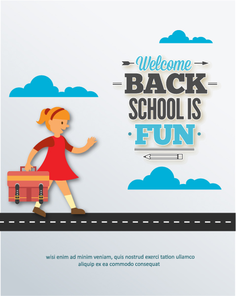 Back to school vector illustration with school girl Vector Illustrations vector
