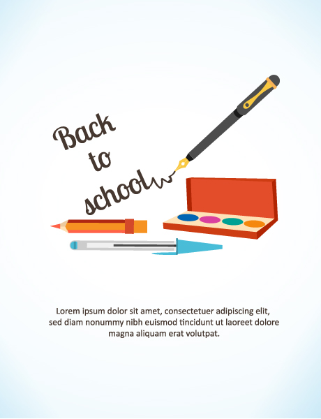 Back to school vector illustration with pencils, watercolor and pen Vector Illustrations vector