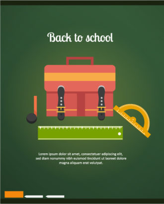 Back to school vector illustration with school bag, ruler and chalk Vector Illustrations vector