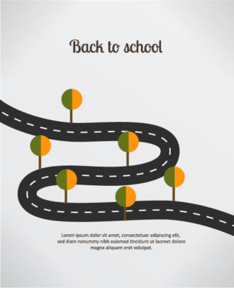 Back to school vector illustration with road and trees Vector Illustrations vector