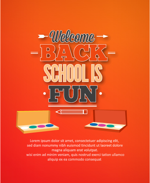 Back to school vector illustration with watercolor Vector Illustrations vector
