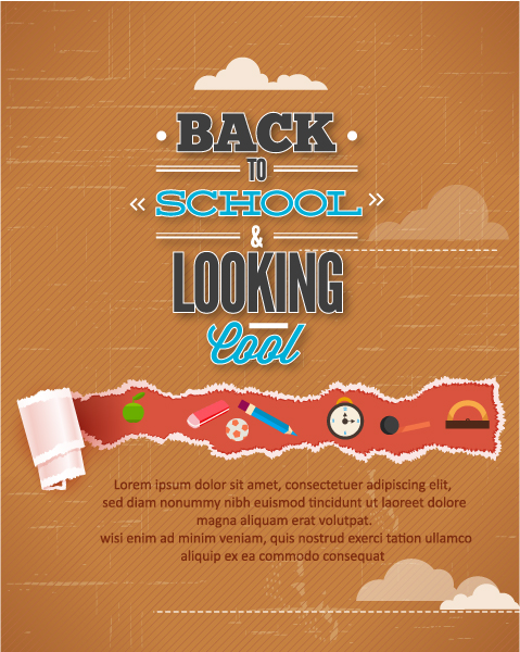 Back to school vector illustration with torn paper Vector Illustrations vector