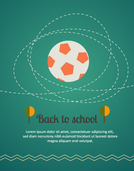 Back to school vector illustration with ball Vector Illustrations tree