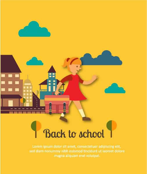 Back to school vector illustration with school building and girl Vector Illustrations building