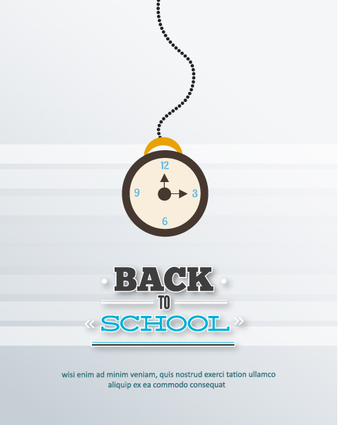 Back to school vector illustration with school clock Vector Illustrations vector