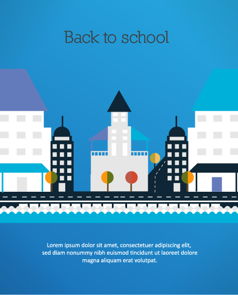 Back to school vector illustration with city Vector Illustrations city