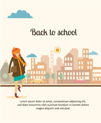 Back to school vector illustration with city and school girl Vector Illustrations city