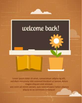 Back to school vector illustration with school table and book Vector Illustrations vector