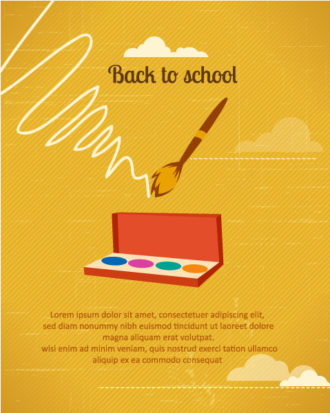 Back to school vector illustration with school brush and watercolor Vector Illustrations vector