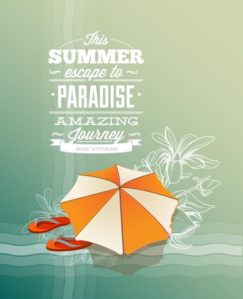 Announcement Vector Design Summer Vector  Illustration  Slippers  Umbrella 1