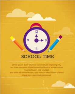 Back to school vector illustration with school clock and pencils Vector Illustrations vector