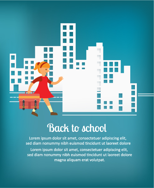 Back to school vector illustration with school girl and bag Vector Illustrations vector
