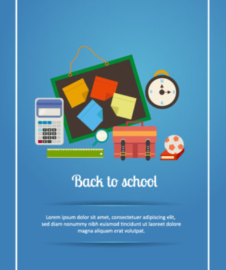 Back to school vector illustration with pinboard, clock, school bag, ball Vector Illustrations ball