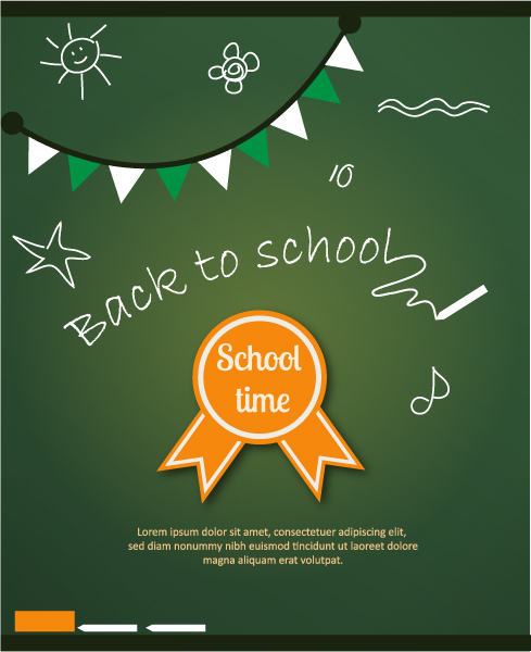 Back to school vector illustration with school badge 2015 04 04 122